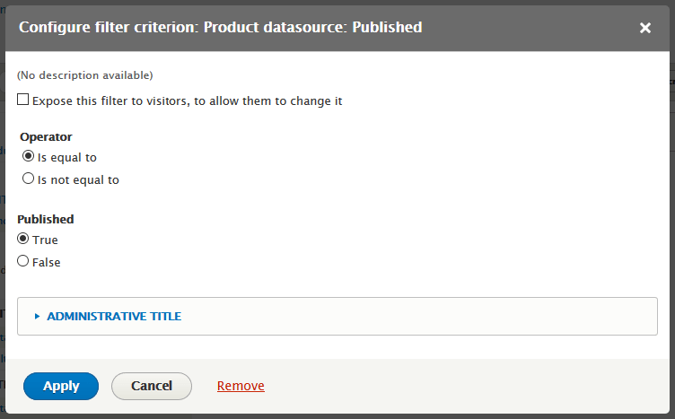 configure datasource filter