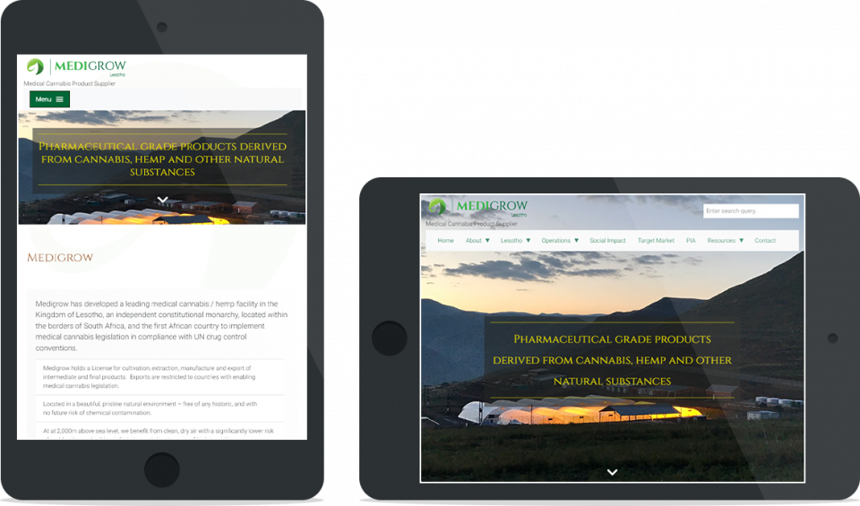 Portfolio | Medigrow Lesotho | Corportate website | Tablet view